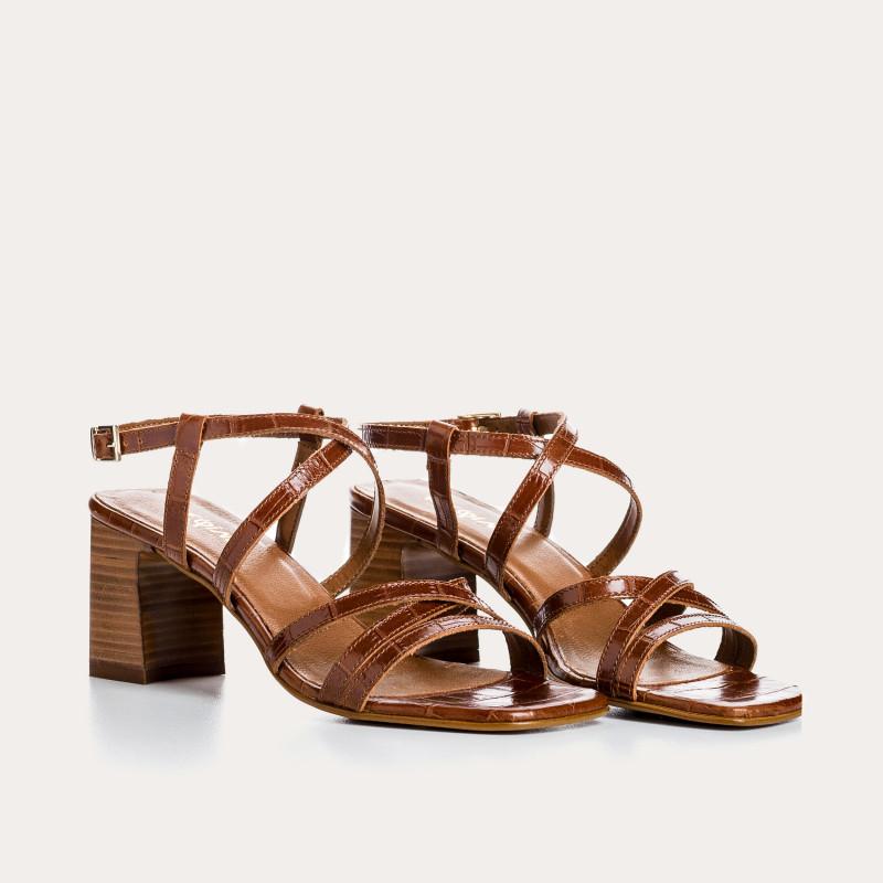 sandale à talon lana croco | reqins