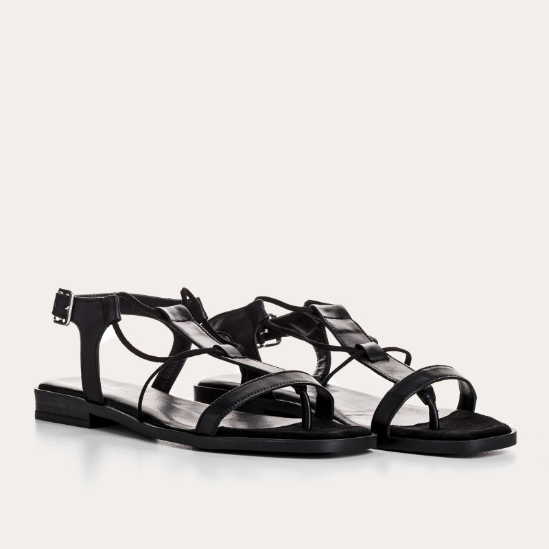 sandale plate frankie cuir peau | reqins