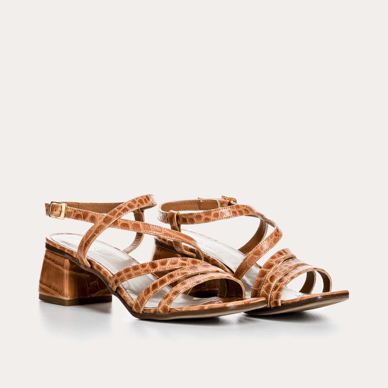 sandale à talon odessa croco | reqins