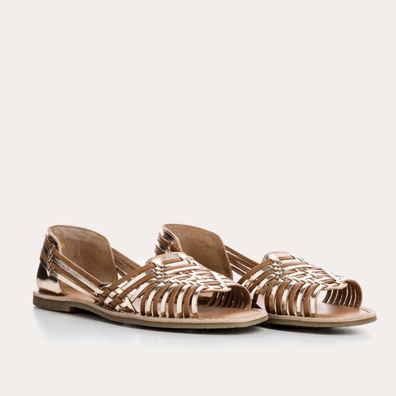 sandale plate delizia cuir metal | reqins