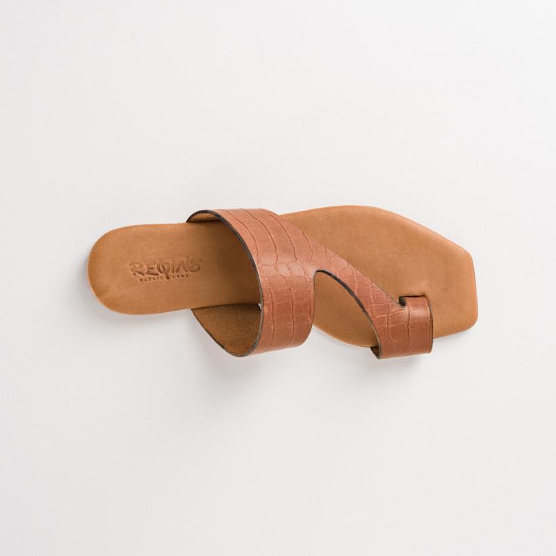 sandale plate femme cuir cognac - reqins