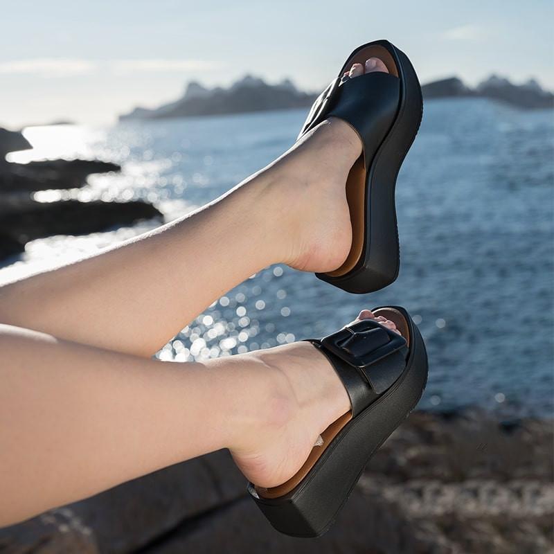 sandale a talon lagoon cuir - reqins