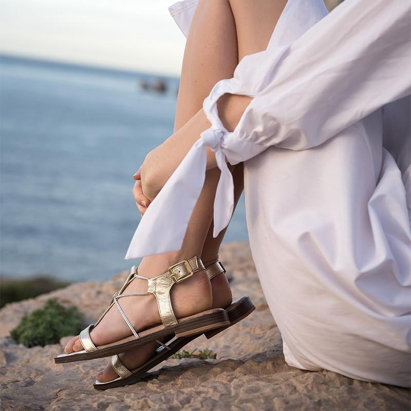 sandales plates argentées - reqins